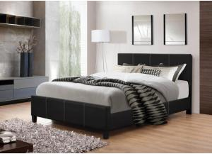 Image for Black Leather Queen Bed Frame