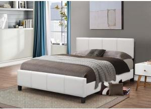 Image for White Leather Queen Bed Frame