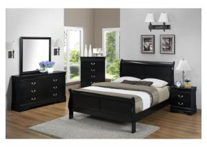 Louis Philippe Black Queen Bed w/Dresser, Mirror, Chest, & Nightstand