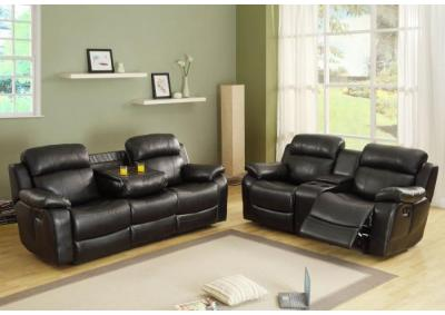 Image for Brown Leather Reclining Sofa & Loveseat