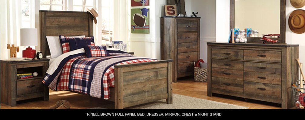 Trinell Brown Full Panel Bed, Dresser, Mirror, Chest & Night Stand