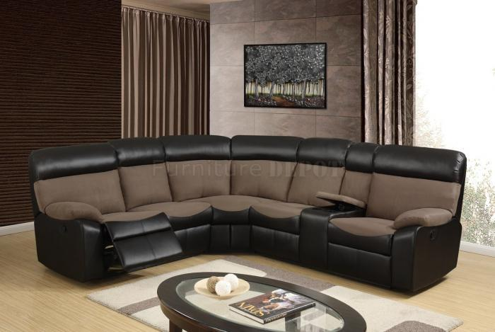 Reclining Sectional Sofa in Brown and Chocolate,Global USA