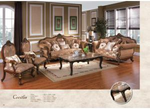CECILA VICTORIAN ERA BROWN FABRIC UPHOLSTERY WITH DECORATIVE WOOD TRIMS AND ACCENT PILLOWS SOFA SET