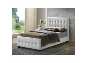 White twin size upholstered bed