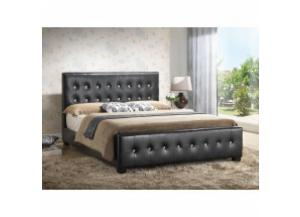Queen size black upholstered bed