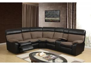 Reclining Sectional Sofa in Brown and Chocolate