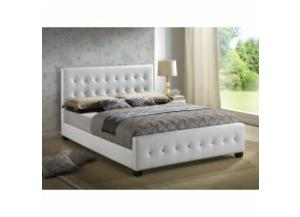 White queen size upholstered bed