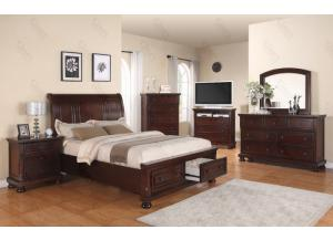 Queen Storage Bed, Dresser Mirror, Chest, 2 Nightstands