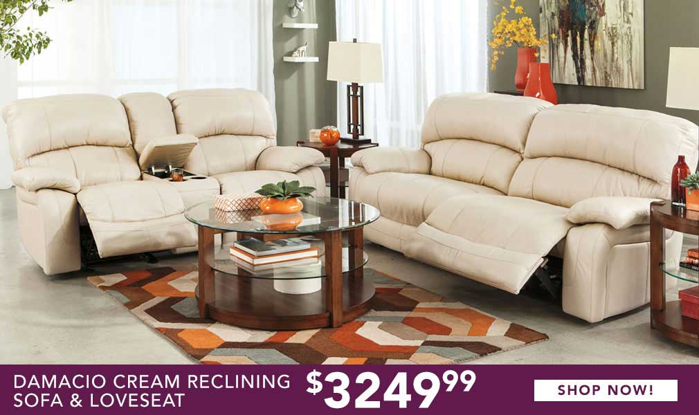 Damacio Cream Reclining Sofa & Loveseat