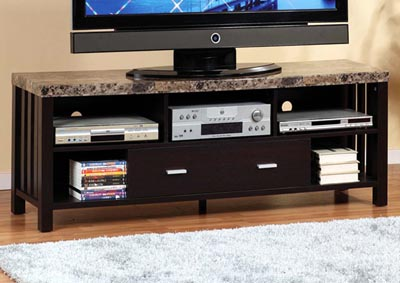 TV Stand in Red Cocoa & Grey Faux Marble
