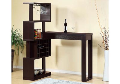 Wine Cabinet with Bar Table in Red Cocoa
