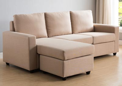 Sectional with Ottoman in Cream