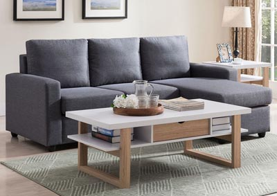 Sectional with Ottoman in Grey