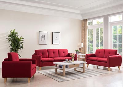Red Sofa and Loveseat