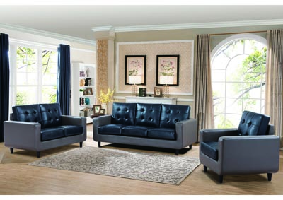 Grey & Blue Sofa and Loveseat