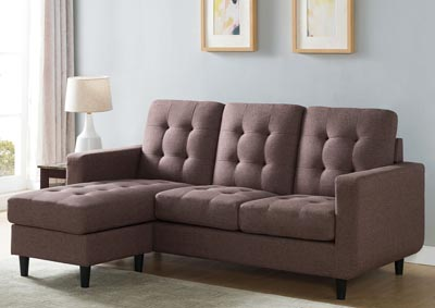 Sectional with Ottoman in Brown