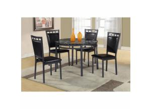 5 Piece Black Faux Marble Metal Round Dining Room Set