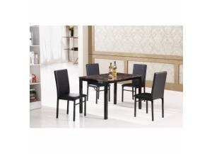 5 Piece Black Metal Faux Marble Dining Room Set