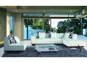 Max West 3 Piece White Leather Sectional