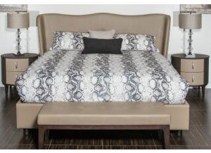 21 Cosmopolitan Taupe Queen Upholstery Wing Bed