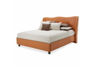 21 Cosmopolitan Orange Cal. King Upholstered Wing Bed 3pc