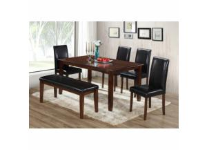 6 Piece Cappuccino Wood Dining Table Set