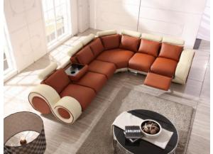 Max West 3 Piece Beige and Camel Leather Sectional