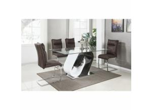 7 Piece Modern White and Cappuccino Dining Room Set