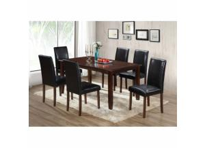 7 Piece Cappuccino Wood Dining Table Set