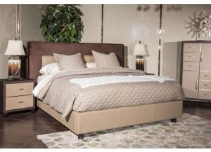 21 Cosmopolitan Taupe Cal King Upholstered Wing Bed