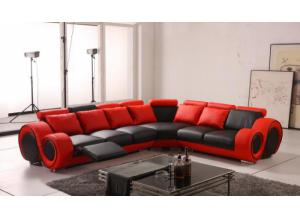 Max West 3 Piece Red and Black Leather Sectional