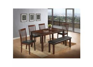 6 Piece Modern Cappuccino Wood Dining Room Set