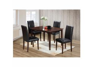 5 Piece Contemporary Cappuccino Finish Wood Dining Room Set