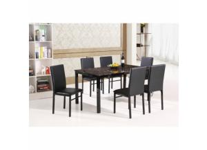 7 Piece Black Metal Faux Marble Dining Room Set