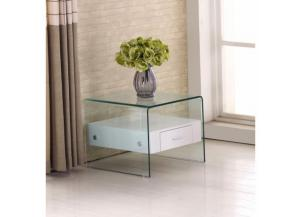 End Table White w/Glass