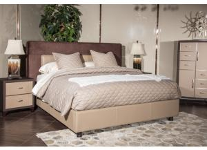 21 Cosmopolitan Taupe Queen Upholstered Tufted Bed