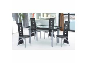 5 Piece Black Gray Glass Top Dining Room Set