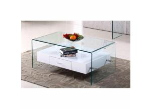 Coffee Table White w/Glass