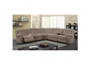 Sectional 3Pc w/Power Recliner Golden