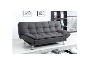 Tufted Design Sofa Futon Dark Grey