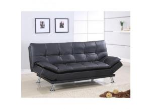 Tufted Design Sofa Futon Black