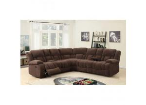 Sectional 3Pc w/Recliner Brown