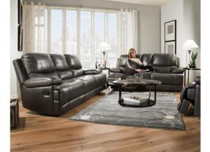 Furniture Hub Brooklyn Charcoal Leather Reclining Sofa