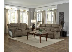 Ridgecrest Tan Double Reclining Sofa and Loveseat