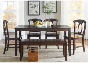 Larkin Dining Table w/Bench and 4 Side Chairs