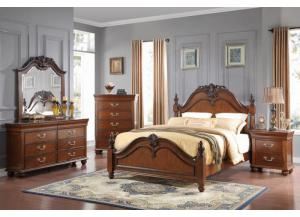 Jacquelyn King Bed, Cherry Dresser, MIrror and Chest