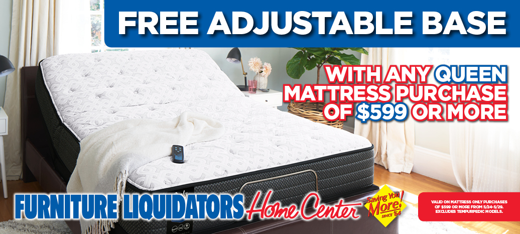 Free Adjustable Base with any Queen Mattress purchase of $599