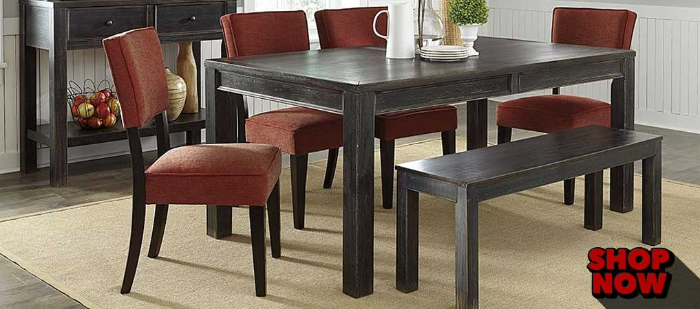 Gavelston Rectangular Dining Table w/ Bench & 4 Brick Side Chairs