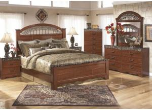 Fairbrooks Estate King Poster Bed w/Dresser, Mirror, Nightstand