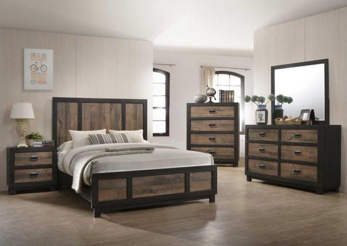 Harlington Queen Bed, Dresser, Mirror, Chest and Nightstand,Harlem In-Store